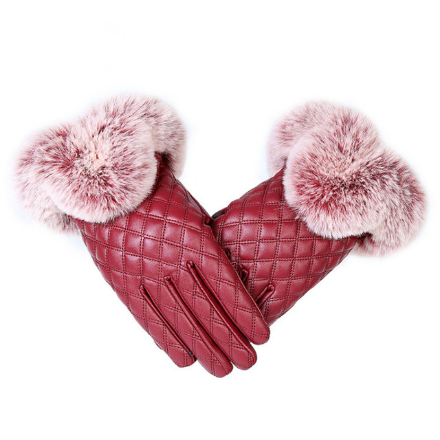 KUYOMENS Fashion Women Warm Thick Winter Gloves Leather Elegant Girls Brand Mittens Free Size With Rabbit Fur Female Gloves