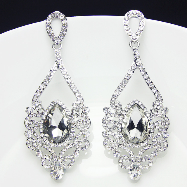 Long Silver Crystal Drop Earrings With Stones Chandelier Rhinestone For Women Party Fashion Jewelry Brincos