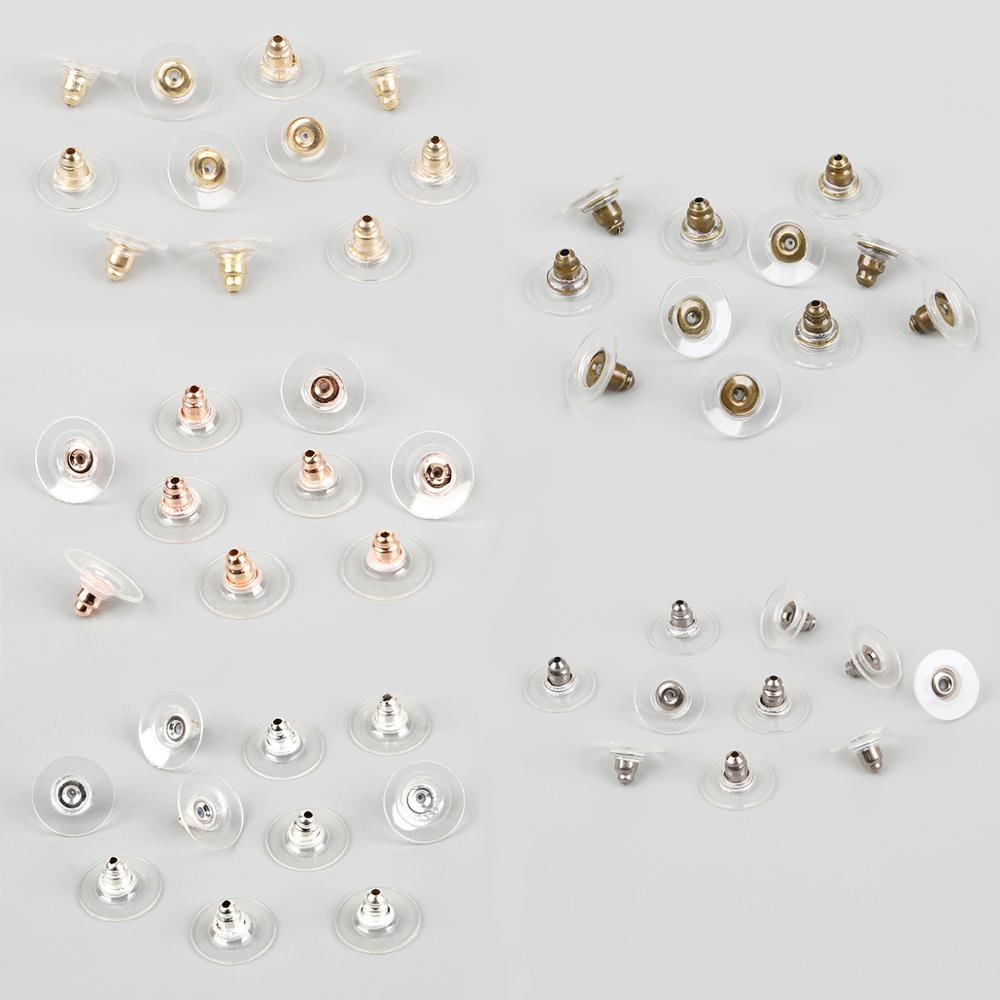 20/50pcs Earrings Jewelry Accessories Silicone Round Earring Back Hooks Stoppers Ear Post Nuts Plugging For DIY Jewelry Findings