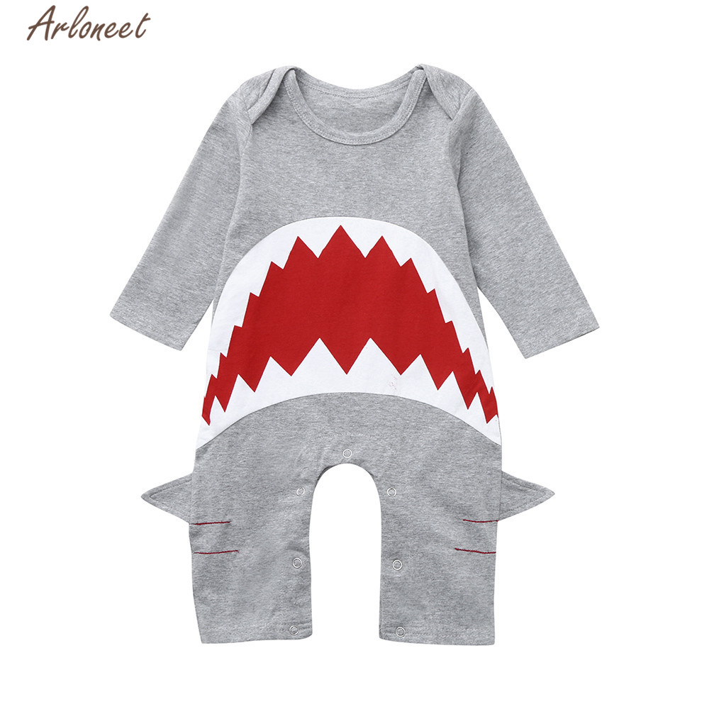 ARLONEET Clothes Girls Boys Kids Cute Gray Cartoon 3D Shark   Romper   Child Casual O-Neck Long sleeves Cotton Xmas Clothes Set