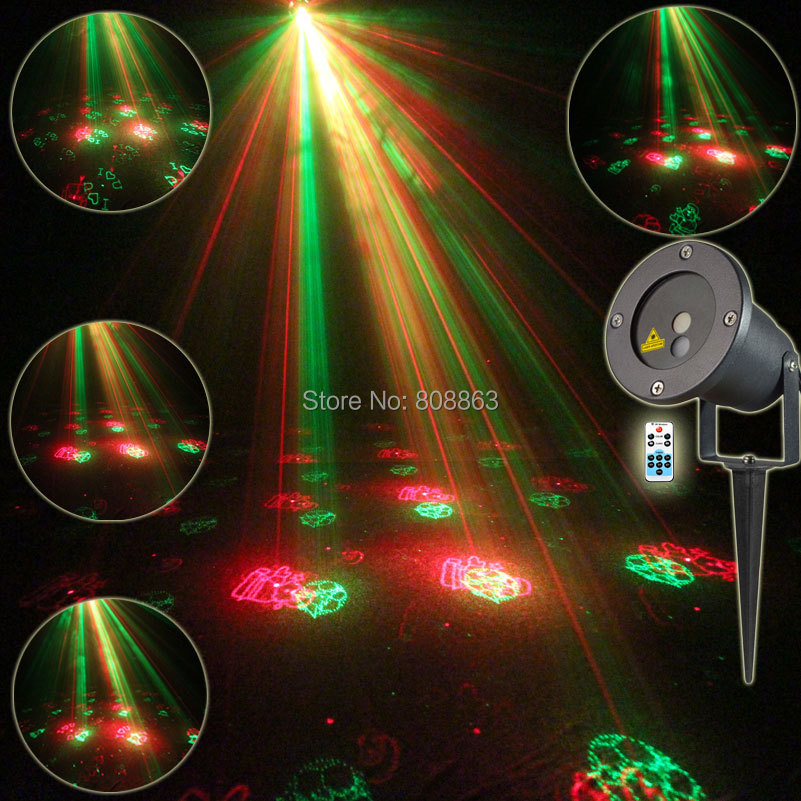 Outdoor Waterproof RG Laser 12 Christmas Patterns Projector Remote Landscape Coffee DJ D ...