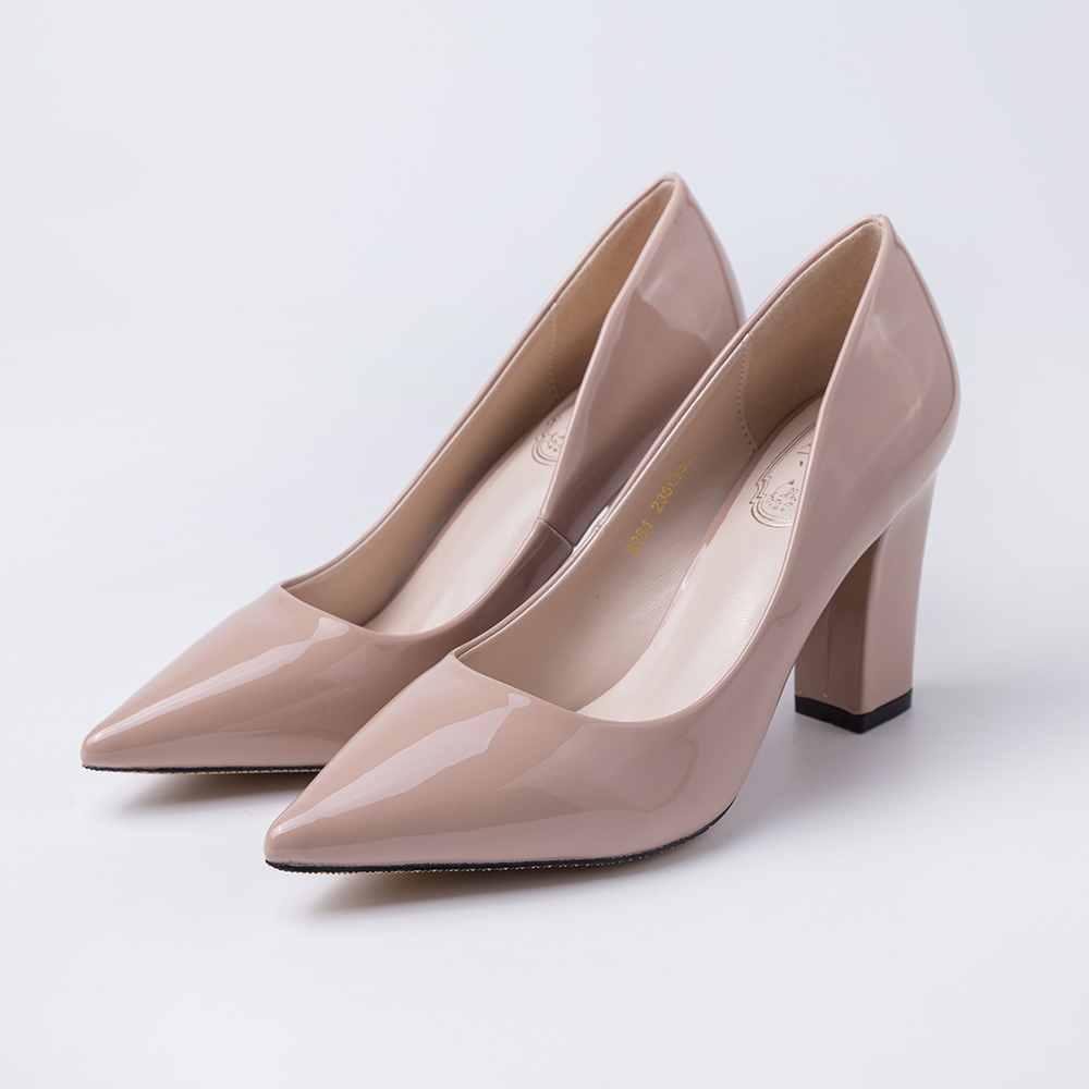HEYIYI Women Shoes Dress Pumps Patent Leather High Heel Pointed Toe Square Heels Spring Pink Color Classic Office Lady Shoes women chic champagne patent leather sandals square thick high heels pumps covered heel single strap gladiator shoes golden pumps