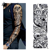 1 Sheet Full Arm Tattoo Sticker Skull Clock Pattern Water Transfer Body Art Temporary Big Large Fake Tattoo Sticker Coll QB-3040