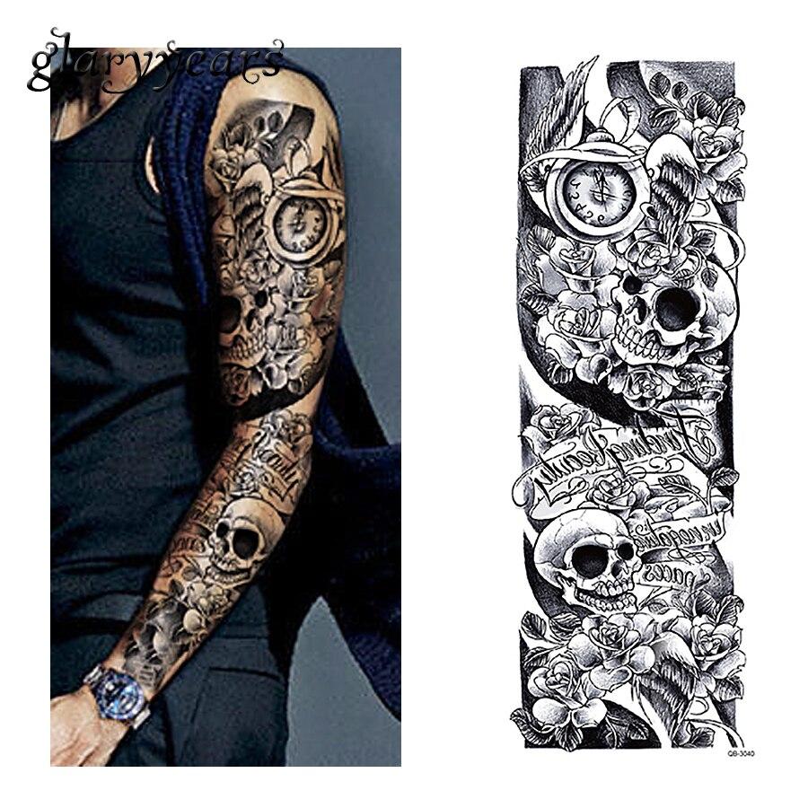 Glaryyears 3 lembar penuh lengan stiker tato tengkorak jam desain transfer air seni tubuh temporary tattoo palsu sticker qb 3040 besar di sementara tato