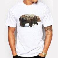 Senlinjeep 2017 New Mens T Shirts Harajuku Arctic Grizzly Bear Print T Shirts Men Tops Tshirt
