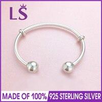 LS Real 100 925 Silver 2017 New Logo Kugelverschluss Offen Open Bangle Bracelet Fit Original Beads
