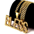 Hip Hop 316L Stainless Stee Necklace Fashion Men 24k Real Gold Plated God Bless Pendant  Necklace Religious Jewelry