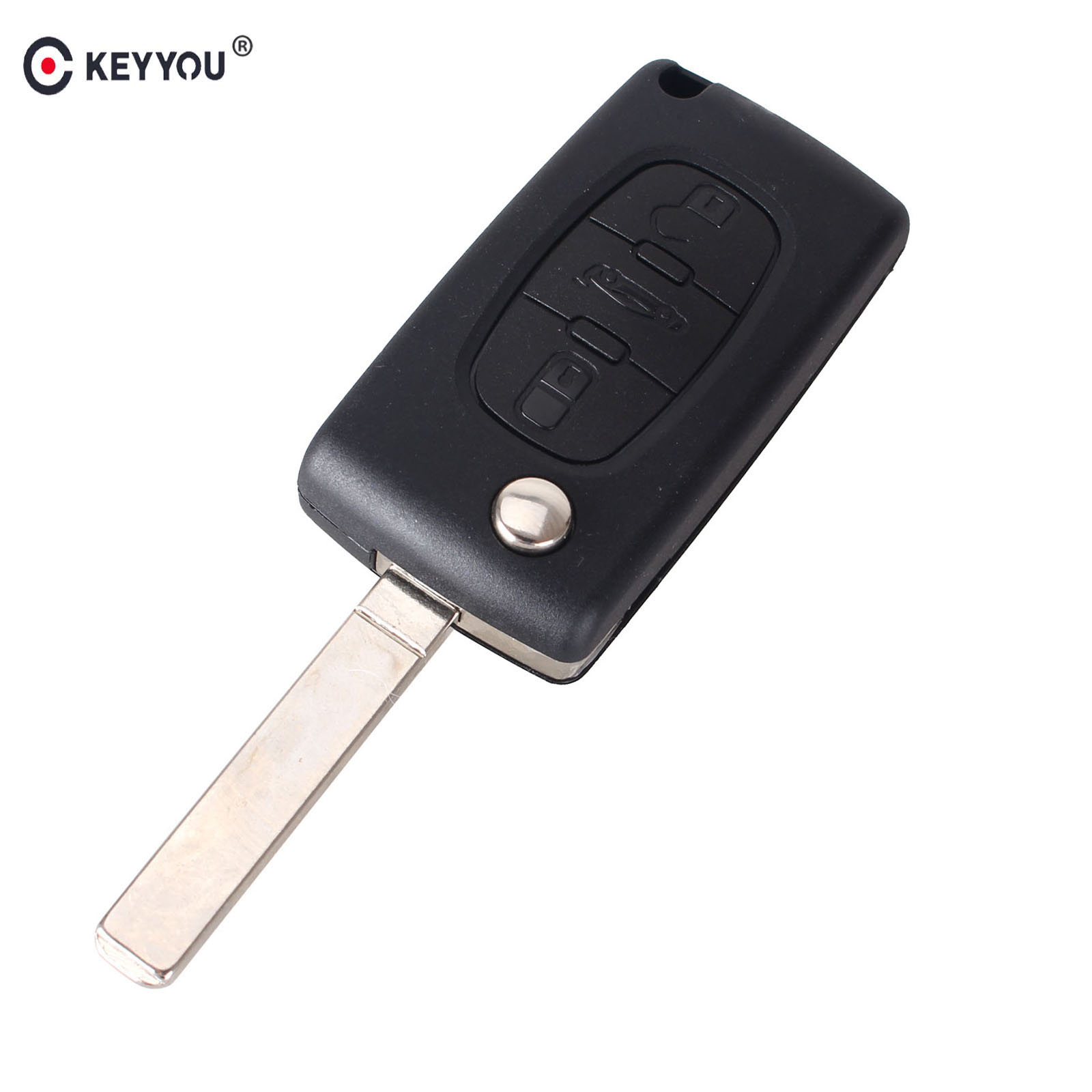 KEYYOU For Peugeot 207 307 407 308 607 3 Buttons Flip Remote Key Shell Case Fob CE0523 2 button flip remote key fob case shell blade keychain for peugeot 207 307 308