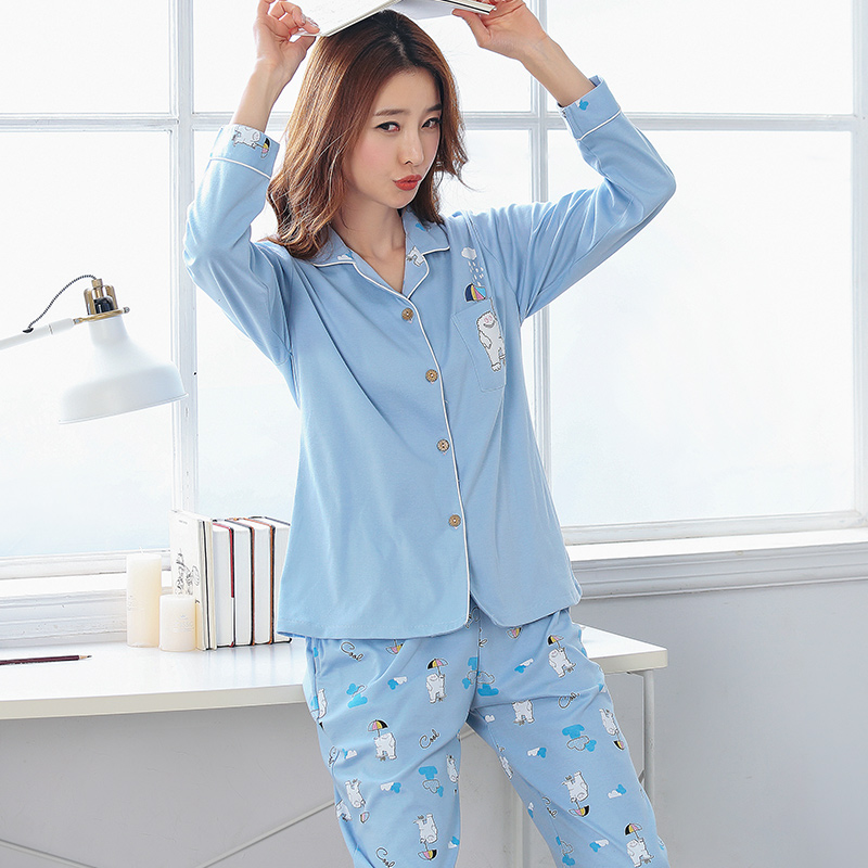 Pajama Sets Women Cute Cartoon Print Tops + Pants 2 Pieces Set Long Sleeve Elastic Waist Cotton Lounge Pijamas M-3XL