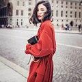 Queda 2016 novo modelo de maré rua snap empate corda da cintura das mulheres longa over-the-knee sentimento solto trench coat