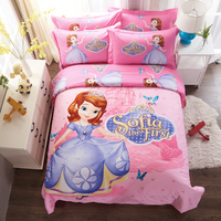 DISNEY Cartoon Sofia The First Bedding Set Pink Duvet Cover Single Double Queen King Size Bedclothes 4PCS 100% Cotton Beddings