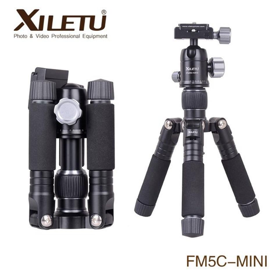 XILETU FM5C-MINI trépied de bureau en aluminium Stable tête de table pour appareil photo numérique sans miroir téléphone intelligent