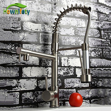 Nickel Brushed Solid Brass Kitchen Faucet With Hot & Cold Switch Kitchen Tap Vessle Mixer Tap Dual Sprayer Pull Down Tap