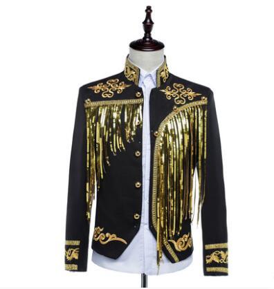 Nouveau costume de cour pour hommes vêtements montrent des modèles marée homme personnalité gland col montant costume scène chanteur costumes sur mesure