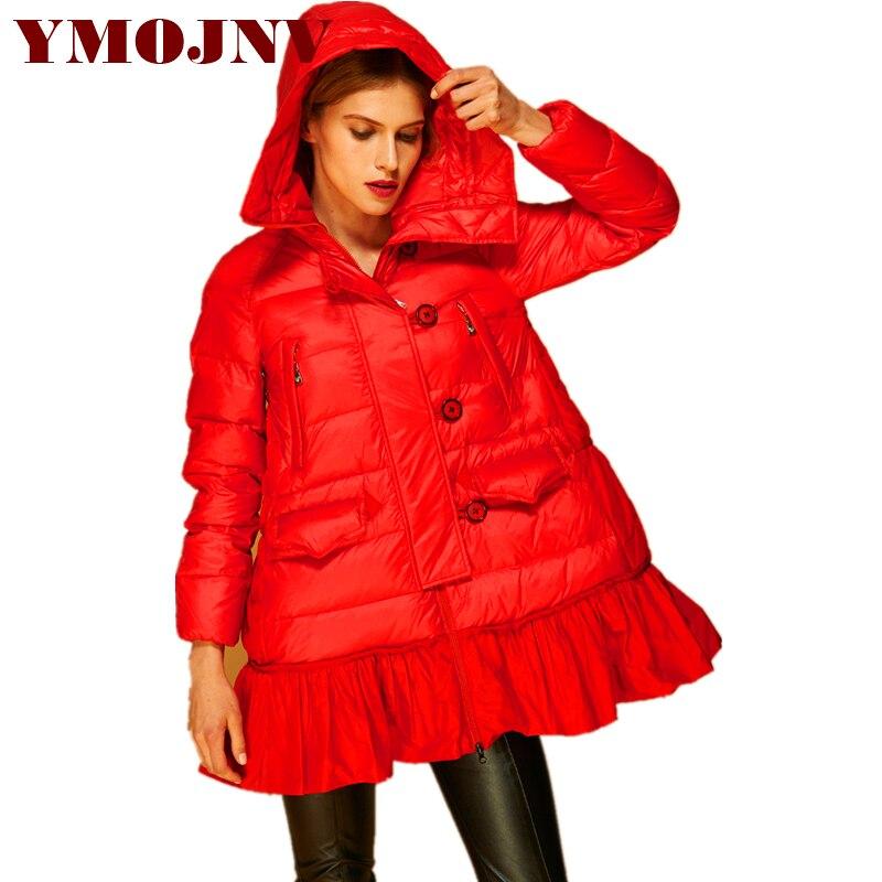Vers Manteau Femme D'hiver Le Tendance À Ligne Ymojnv Veste Bas Épais Capuchon red De Black Chaud Vestes Qualité Solide Un Haute Femmes Outwear OwxUFwqg