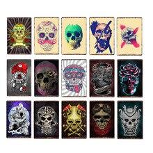 Cartel de calavera de Metal, pintura de hierro retro, carteles de estaño, tienda de tatuajes, decoración para fiestas, placas de pared vintage, 20x30 cm