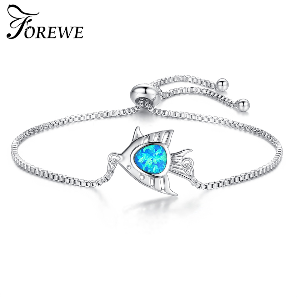 FOREWE Blue Opal Stone Charm Bracelet Animal Fish Natural