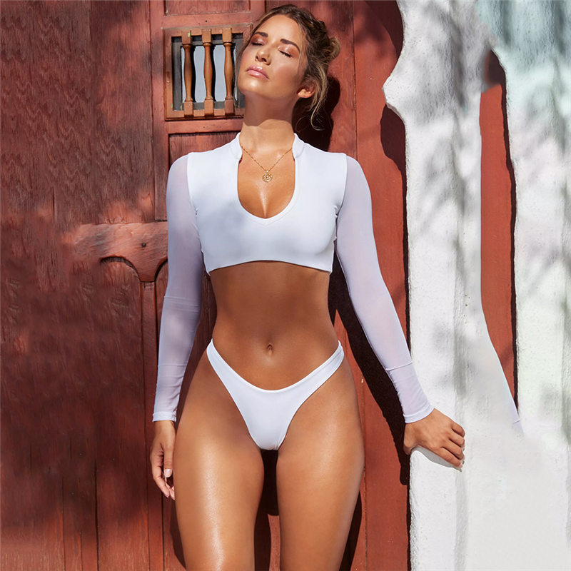 dfabe19d477 ZPDWT Sexy Mesh Bikini Set Long Sleeve Swimsuit Thong Bottom Two Piece  Swimsuit Solid Orange Bathing Suit Plavky Maillot De Bain-in Bikinis Set  from Sports ...