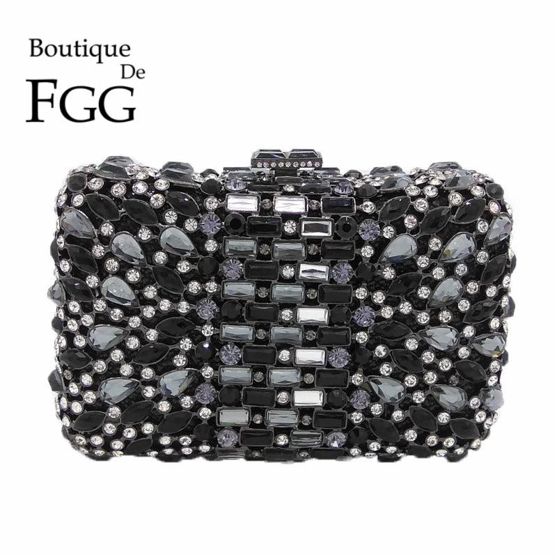 все цены на Multi Black Crystal Evening Clutches For Women Party Handbag Purse Bridal Wedding Cocktail Metal Mini Clutch Bag Bolsa De Manos онлайн