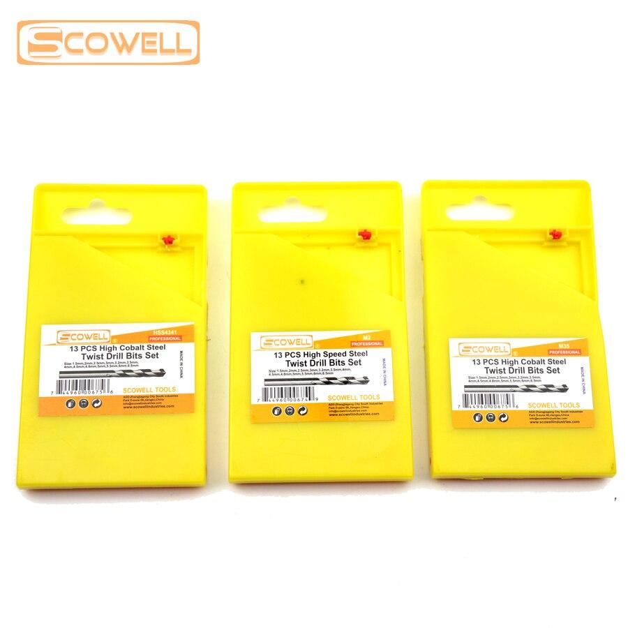 50 off 13pcs hco m35 cobalt twist drill bit set with metal box din338 1 5mm 6 5mm hss 4341 6542 split metal drill bit kit in drill bit from home