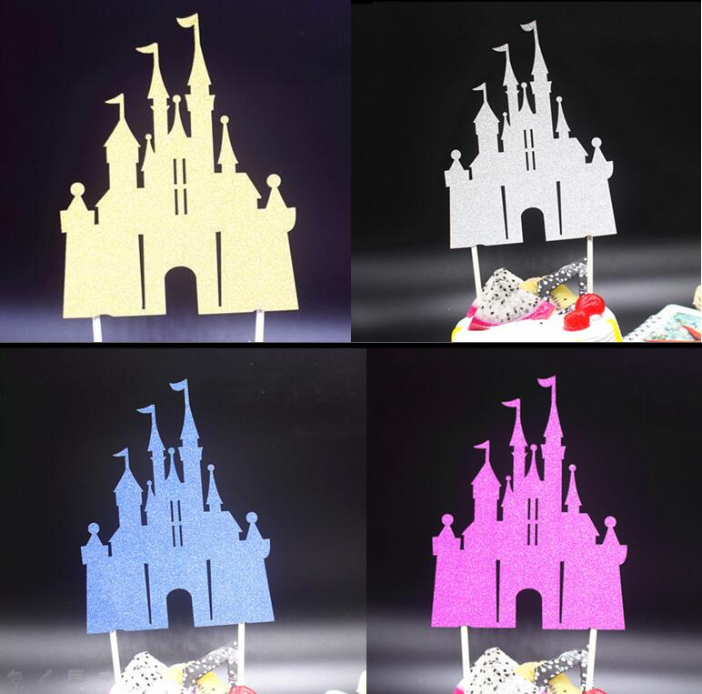 Castle Cake Topper Flag Merry Christmas Toppers  For Wedding Happy Birthday Party Baking Decoration Noel Cupcake Happy New Year
