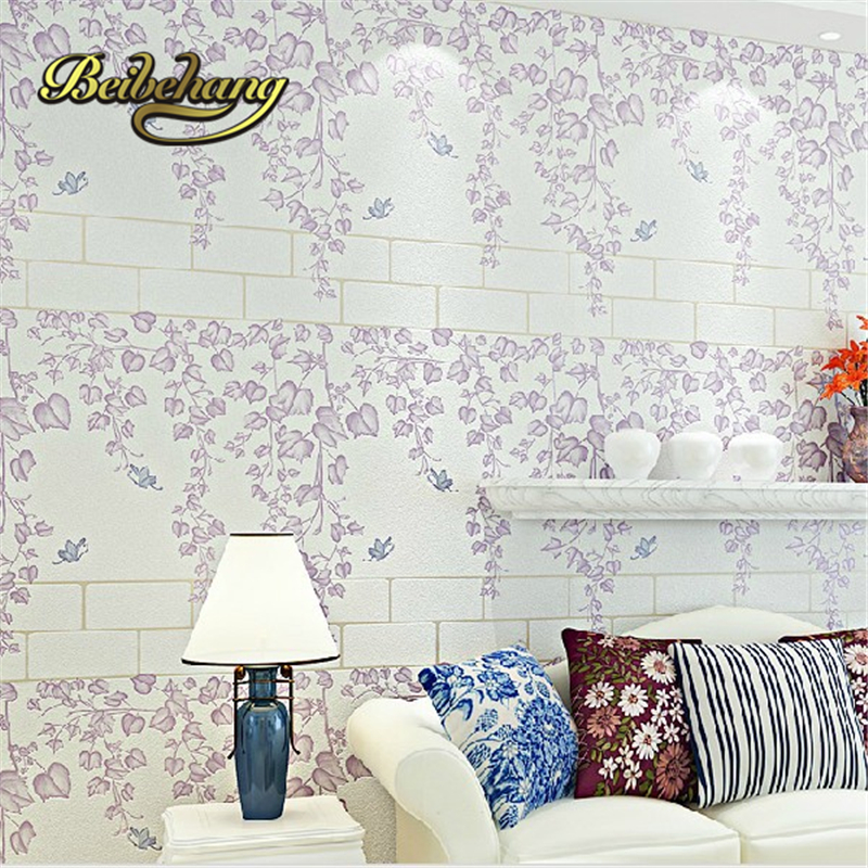 beibehang papel de parede Romantic garden fresh rattan non-woven bedroom living room sofa background wallpaper 3d wall paper beibehang mediterranean blue striped 3d wallpaper non woven bedroom pink living room background wall papel de parede wall paper
