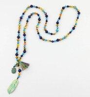 Buho de la vendimia/Collar de bronce Antiguo de cristal de Plumas con Mezcla de piedra Natural Collar de perlas Anudadas piedra Natural de la joyería de boho