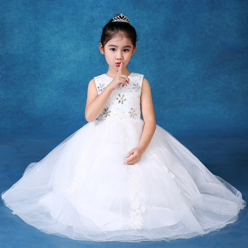 2-11Y kids girls dresses new appliques flowers girl dress for wedding birthday costume long design ball gown princess dress