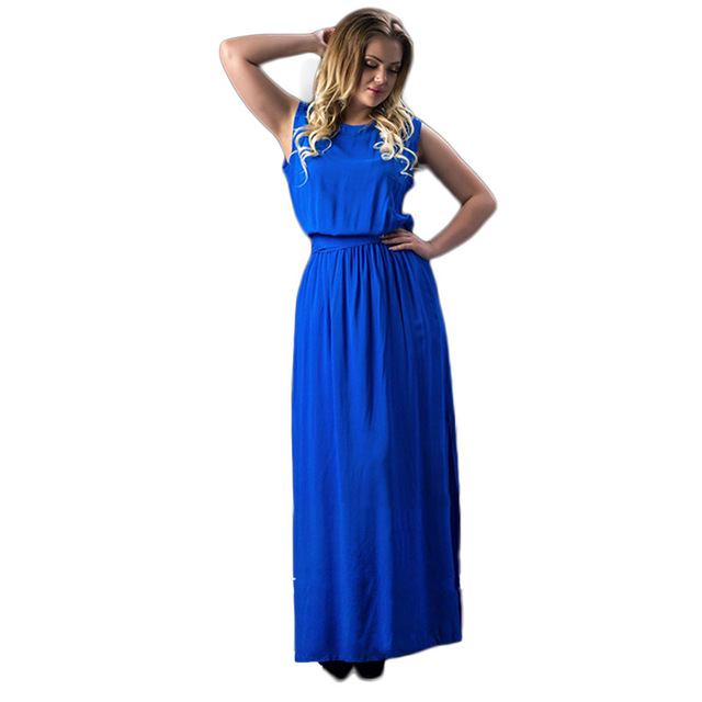more photos ecd52 f2053 US $24.68 |2017 Estate 6XL Plus Size Donne Vestiti Lunghi di Grandi  Dimensioni Maxi Abito Blu Casual Senza Maniche Impero Abito Party Dress in  2017 ...