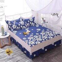Blue + White Print Pattern Bedding 3pcs Bedding Set Bed Skirt Pillow Cases Modern Sheet Set Bed Skirt Pillow Shams Bedclothes,