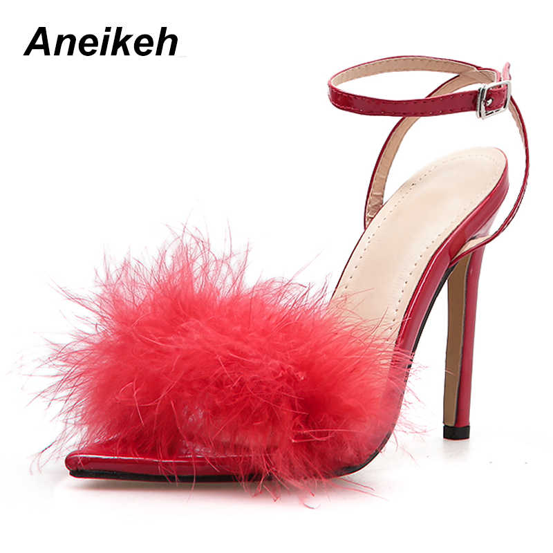 Aneikeh 2019 ฤดูร้อนใหม่รองเท้าแตะโรมันรองเท้าส้นสูงสายคล้องคอ Feather รองเท้าแตะ Pointed Peep ศัตรูขนปาร์ตี้หญิงรองเท้า