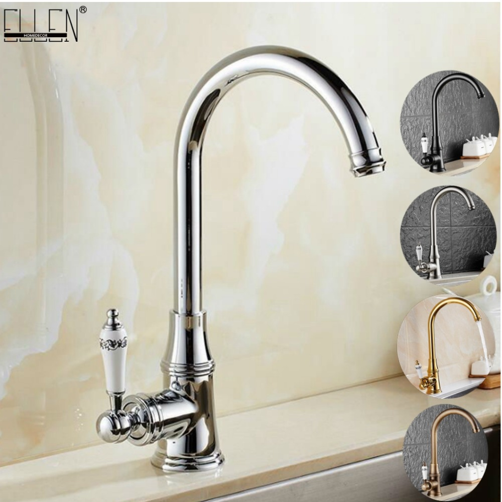 Deck Mounted Kitchen Sink Faucet Hot and Cold Water Mixer Tap Crane Chrome Antique Bronze Finished Copper Brush Nickel ELK22 стоимость