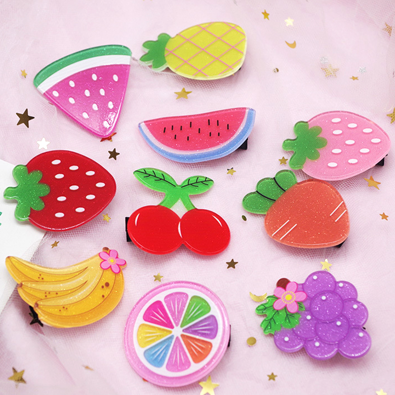 Fashion Children Hair Accessories   Headwear   Set 2Pcs/Set Kids Acrylic Fruit Hairpin Cute Strawberry Pineapple Hair Clip for Girls