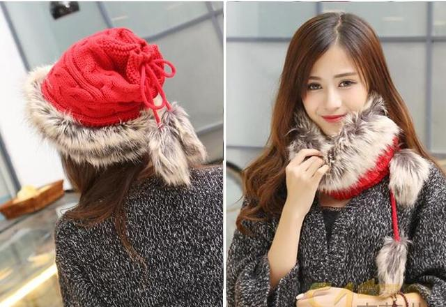 women's autumn and winter warml knitted rabbit fur cap kniited fur scarf multi use women winter cap scarf set knitted hat