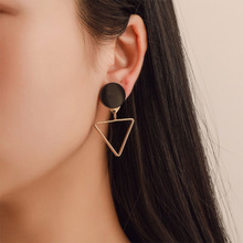 Fashion Jewelry Square Circular Triangular Geometry Asymmetric Pendant Earrings For Women Girl Long Eardrop WD6