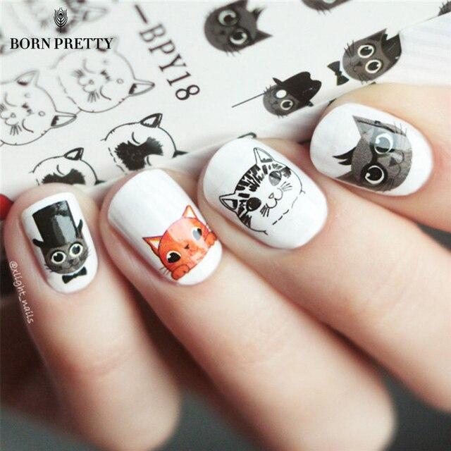 BORN PRETTY Cute Cat Nail Art Water Decals Transfer Sticker Manicure Decoration 2 Patterns/Sheet BPY18