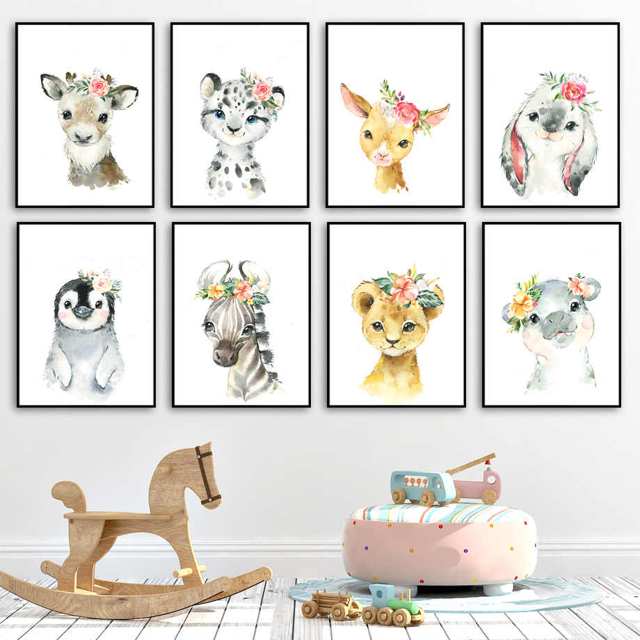 Cute Deer Zebra Lion Rabbit Pig Flower Nordic Posters And Prints Wall Art Canvas Painting Nursery Wall Pictures Kids Room Decor