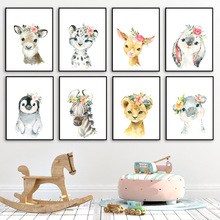 Cute Deer Zebra Lion Rabbit Pig Flower Nordic Posters And Prints Wall Art Canvas Painting Nursery Pictures Kids Room Decor