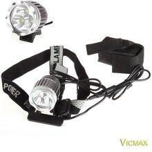 VICMAX 3T6 Headlamp 5000 Lumens 3 x C-XM-L T6 Head Lamp High Power LED Headlamp Head Torch Lamp Flashlight Head +charger+Battery