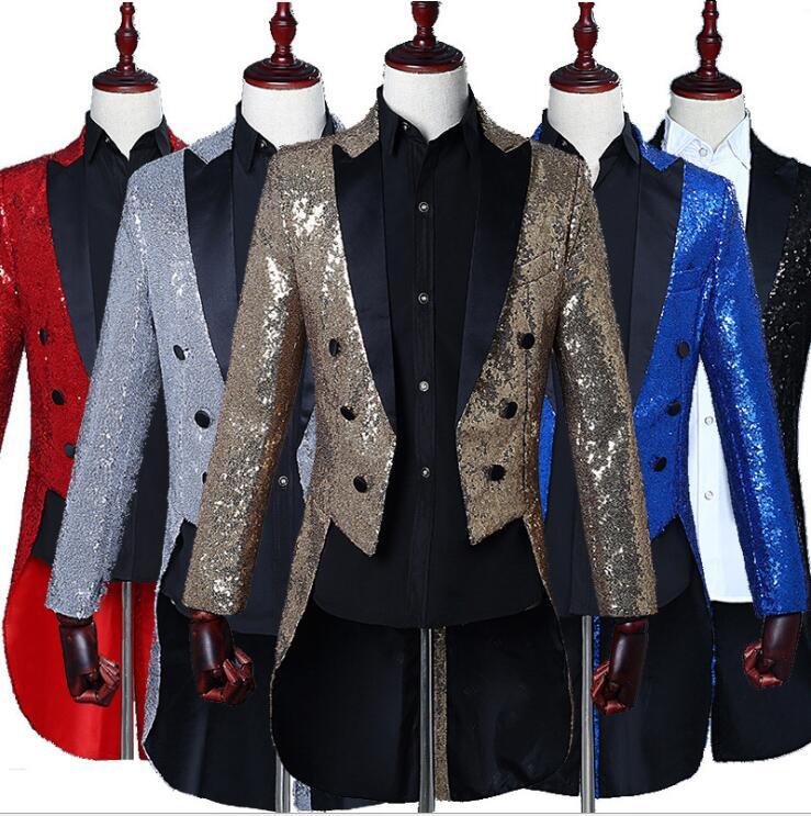 Double boutonnage hommes Tailcoat noir Sequin rouge homme costume magicien préside choeur chef bal Bar chanteur longue veste paillettes