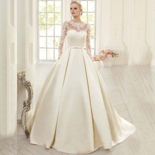 Elegant Silk Wedding Dresses With Sleeves: Elegant Sheer Appliques Silk Satin A Line Wedding Dress