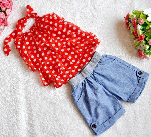 2015 summer brand girls Dot baby chiffon halter camisole elastic denim shorts 2 piece suit casual children Clothing kids Sets