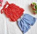 Meninas de verão chiffon halter camisola elástica shorts jeans 2 peça crianças terno crianças