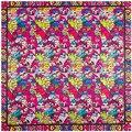 90 см * 90 см Европейская Мода Национальный Ветер Чешские Sytle Милый Кот Печатных Фирменный стиль женщины шелковый атлас большой квадратный шарф