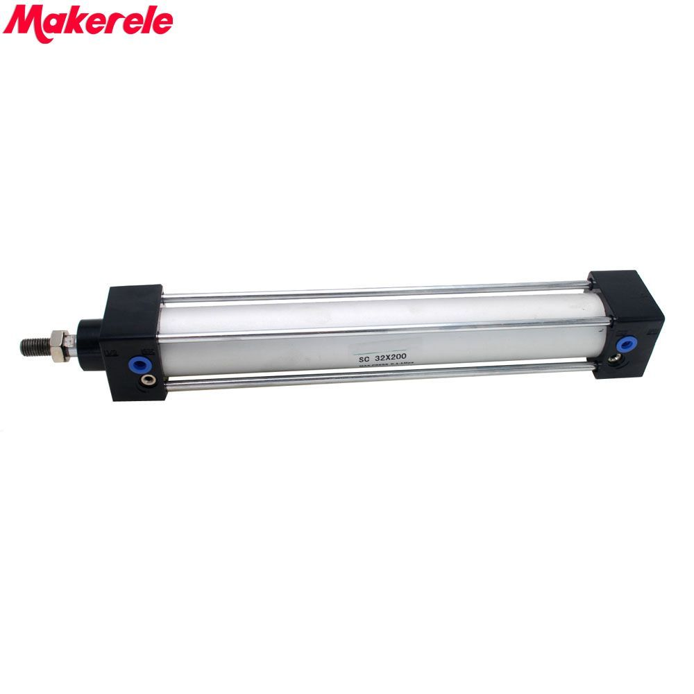 Mini Pneumatic Cylinder Double Acting Air Cylinder 32mm Bore 200mm Stroke SC32-200  Makerele Free Shipping Mini Pneumatic Cylinder Double Acting Air Cylinder 32mm Bore 200mm Stroke SC32-200  Makerele Free Shipping
