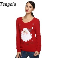 Women S Autumn Winter Pullovers Fashion Cute Santa Claus Applique Knitting Long Sleeve Casual Sweater Jumper