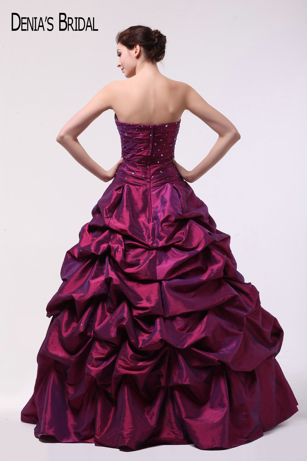 2017 Wine Red Taffeta Ball Gown Evening Dresses with Strapless ...