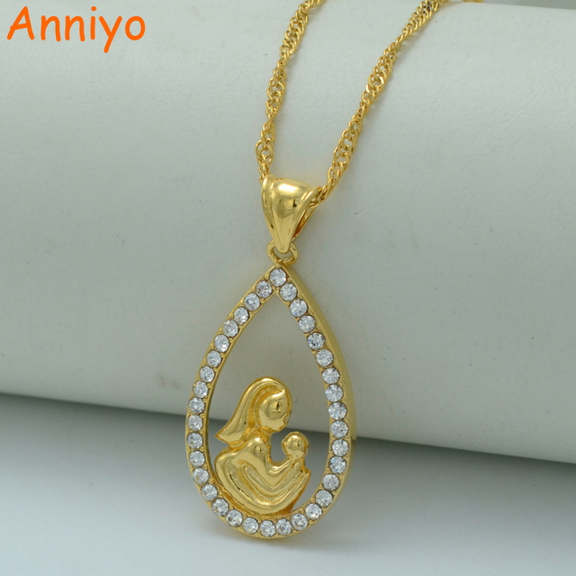 Anniyo gift for mom necklaces gold color mothermamamother child anniyo gift for mom necklaces gold color mothermamamother child pendant necklaces mozeypictures Images