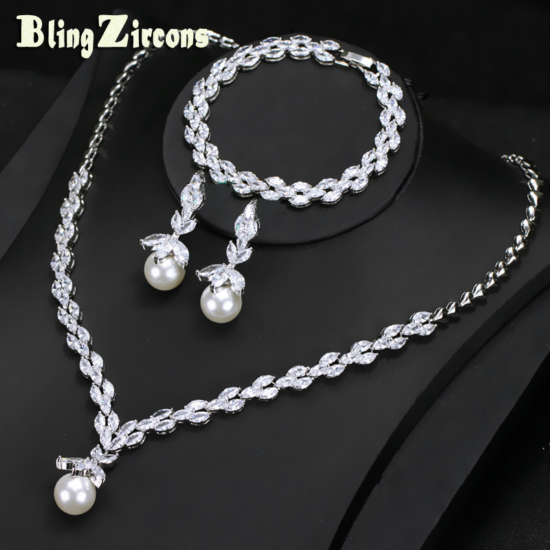 цена на BlingZircons Exclusive 3 Pcs Cubic Zircon Crystal And Pearl Earring Necklace Bracelet Wedding Party Jewelry Set For Women JS104