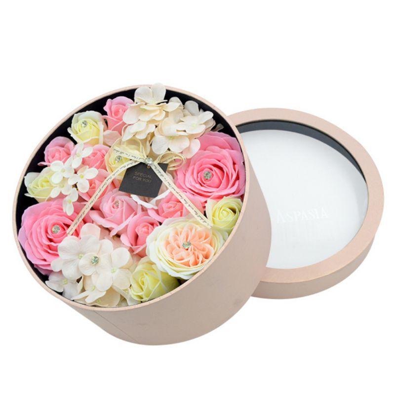 Rose savon fleur pétale avec boîte-cadeau ronde pour mariage saint valentin fête des mères fête des enseignants cadeau fête fournitures